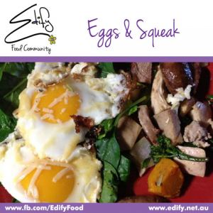 Parmesan sprinkled Eggs with a leftovers fry up of Pork & Veg, served on a bed of Baby Spinach