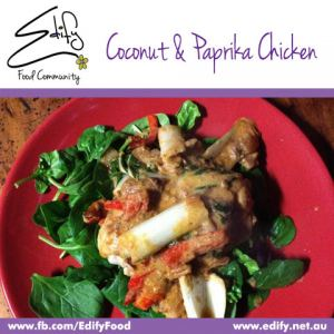 Coconut & Paprika Chicken (see Recipes) on a bed of Baby Spinach