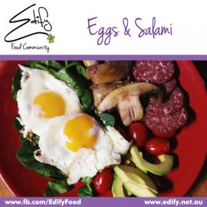 Fried Eggs & Mushrooms served with fresh Avocado, Cherry Tomatoes, Hungarian Salami on a bed of Baby Spinach.